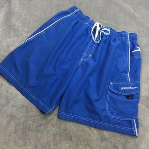 Speedo Men's Blue White Board Shorts Size Large
